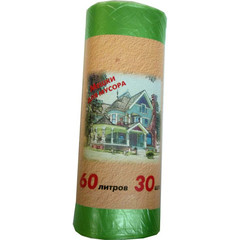 Мешки для мусора на 60 л зеленые (ПНД, 10 мкм, в рулоне 30 шт, 58х66 см)