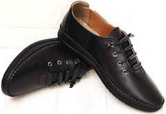 Низкие кеды мокасины женские на шнурках smart casual EVA collection 151 Black.