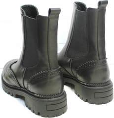 Ботинки женские на низком каблуке Jina 7113 Leather Black.
