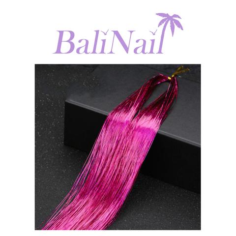 Блестящие пряди (нити) для волос #2 (фуксия голограф.)