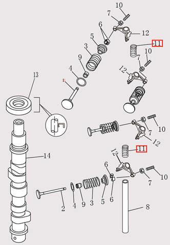 Пружина рокера Φ16.8*25 для лодочного мотора F9.8 Sea-PRO (4-11)