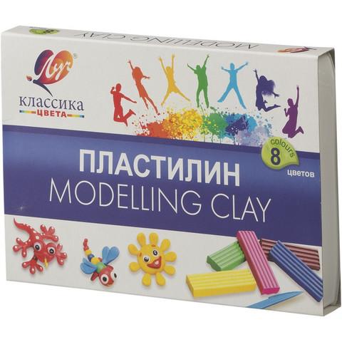Пластилин классический Луч Классика 8 цветов 160 г со стеком