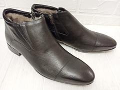 черные кожаные мужские зимние ботинки