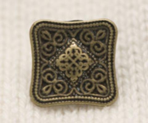 Пуговица металлическая, квадратная, с ажурным рисунком, 13 мм