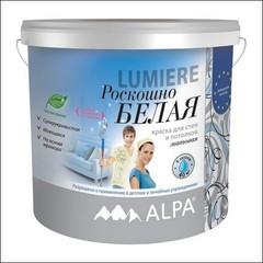 Краска для внутренних работ ALPA LUMIERE моющаяся (Белый)