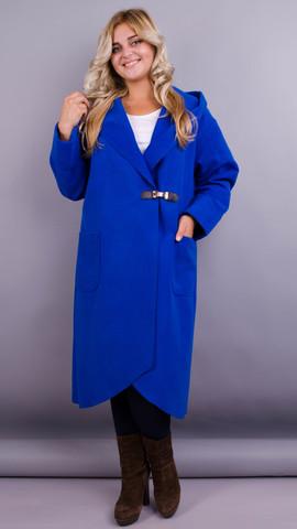 Сарена. Оригінальне пальто-кардиган великі розміри. Електрик.