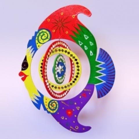 Спираль Рыба c зеркалами цветная