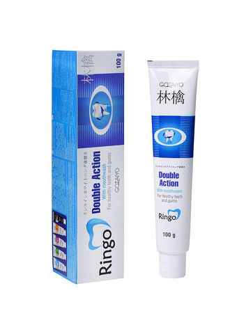 Gotaiyo Ringo Зубная паста отбеливающая с ополаскивателем Double Action 100 гр /1