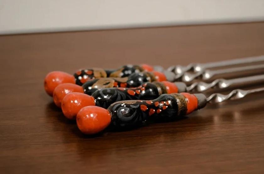 Шампуры из нержавейки Шампур с деревянной ручкой ХОХЛОМА 3мм (ширина 12мм) №15 hZpmn_1cIpY.jpg