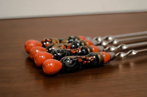 Шампур с деревянной ручкой ХОХЛОМА 3мм (ширина 12мм) №15