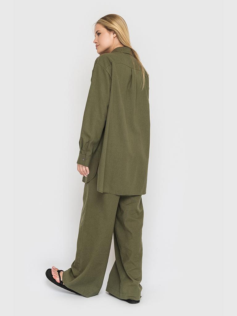 Льняной костюм оливковый YOS от украинского бренда Your Own Style