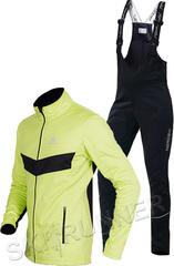 Детский утеплённый лыжный костюм Nordski Jr. Base Lime-Black с высокой спинкой