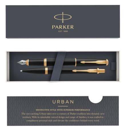 Подарочный набор: Перьевая и Шариковая ручки Parker Urban, Muted Black GT123