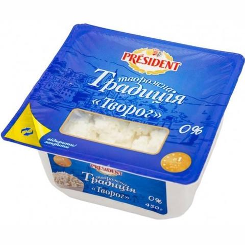 Творог PRESIDENT Домашний 0% 450 г New ванна Food Master КАЗАХСТАН