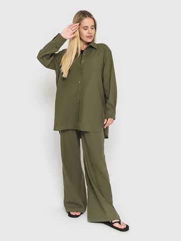 Льняной костюм оливковый YOS