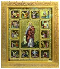 Большая Живописная икона Пророк Илия Фесвитянин с житийными сценами 54х44см на кипарисе в березовом киоте