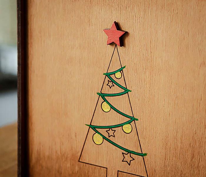 BOX246-2 Новогодняя коробка с ручками с елкой и звездой (17*17*10 см) фото 03
