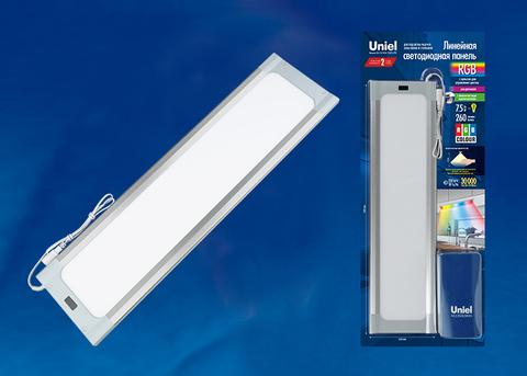 ULI-F42-7,5W/RGB/RC/DIM SENSOR IP20 SILVER  Панель линейная светодиодная ультратонкая, с бесконтактным выключателем, диммер, пульт ду. 460х120х11мм. 260Lm. Серебристый. ТМ Uniel