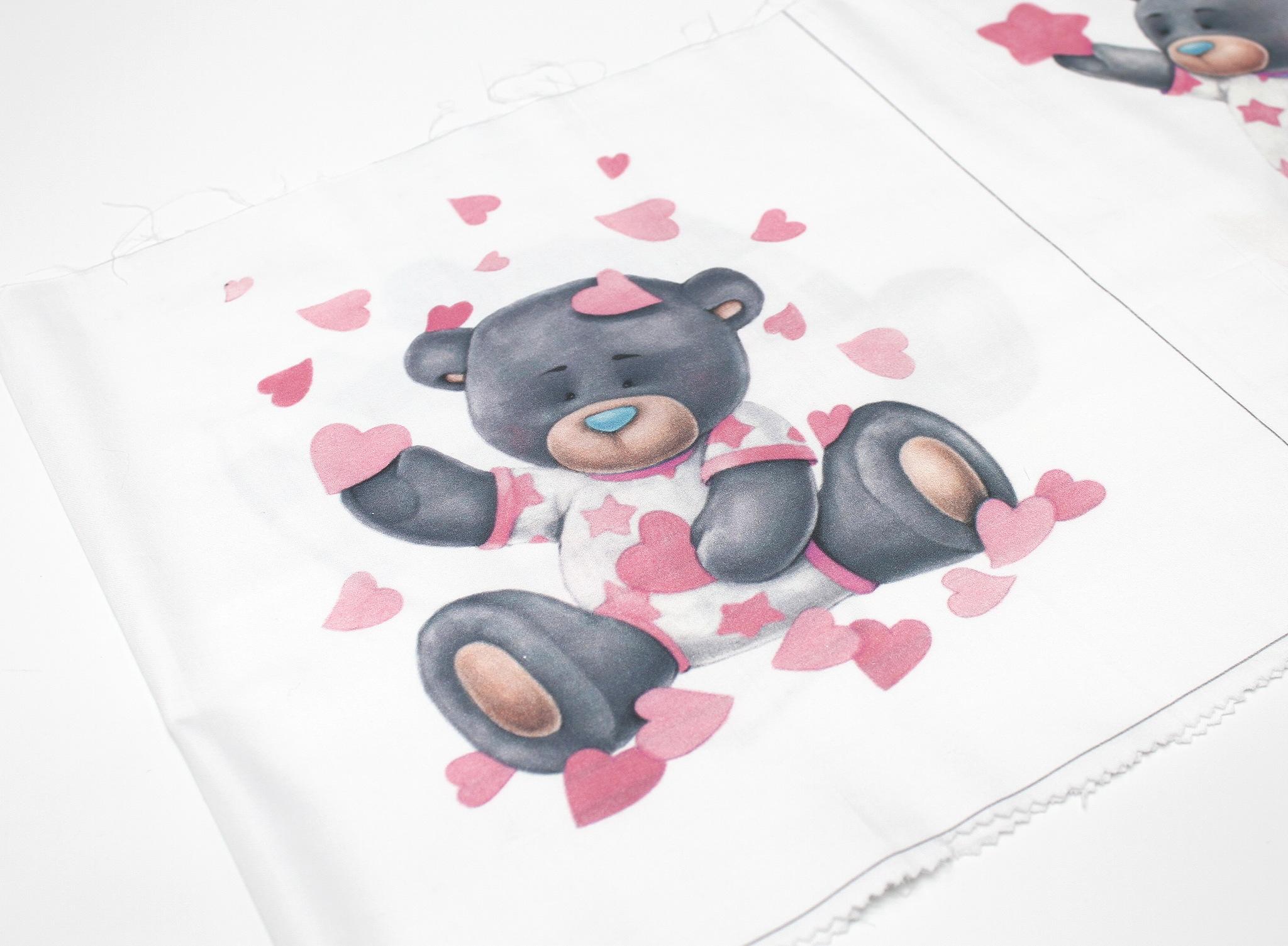 Панель(купон) мишки,розовый фон-35*35 см, 1 шт.