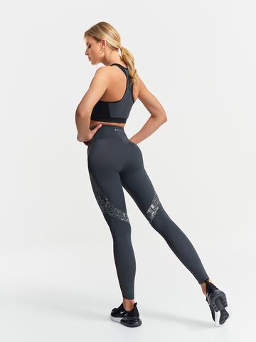 Леггинсы жен. cо вставками серый для йоги и фитнеса