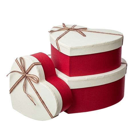 Набор коробок подарочных Сердце 3 шт, со шнуром 22 x 19,5 x H9 см, цвет: красный/бежевый