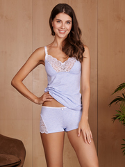 Vivamama. Пижама для кормящих Olivia, голубой меланж вид 2