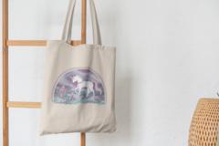 Сумка-шоппер с принтом Единорог (Unicorn) бежевая 002