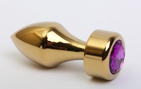 Анальная пробка металл золото с фиолетовым стразом 7,8х2,9см 47443-5MM