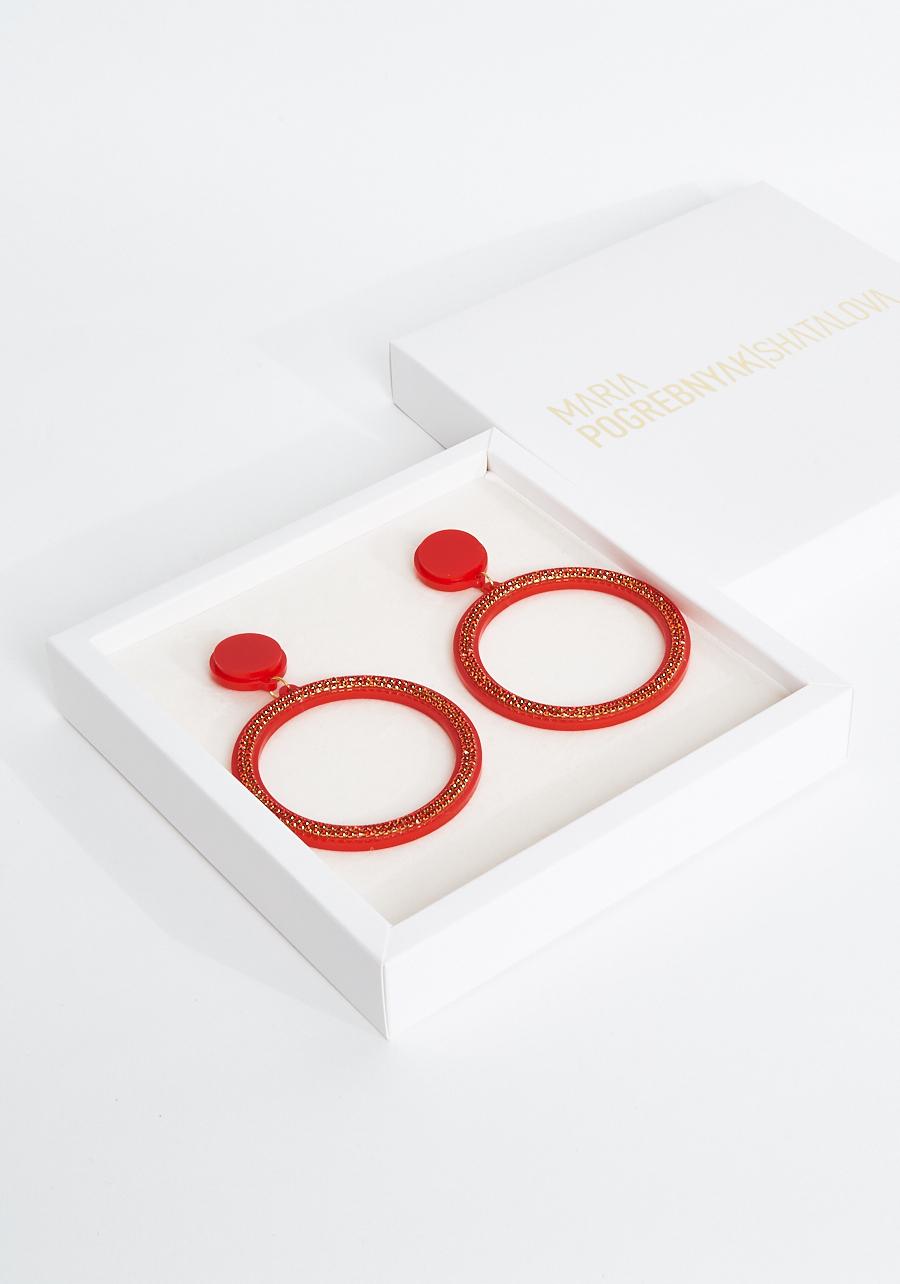 Серьги кольца красные