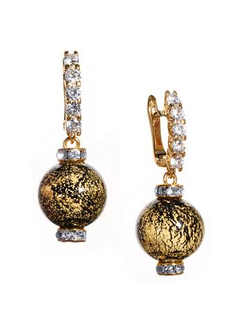 Серьги из муранского стекла со стразами Franchesca  Ca'D'oro Medio Gold Black 064O