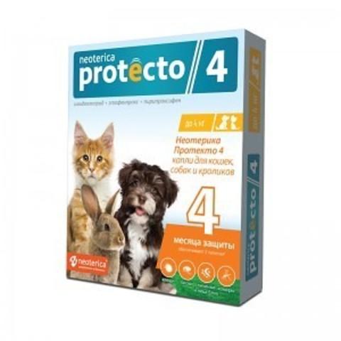 Протекто (Protecto) капли для кошек, собак, кроликов до 4 кг.