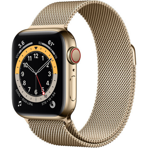Часы Apple Watch Series 6 (GPS + Cellular, 40mm, Stainless Steel Case with Milanese Loop Gold (Золотистый)(M02X3,M06W3)