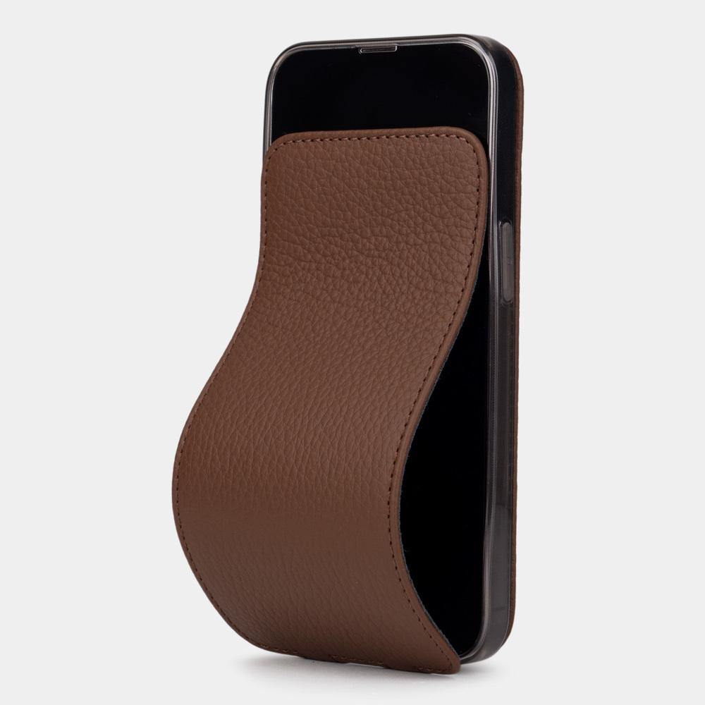 Чехол для iPhone 13 Pro из натуральной кожи теленка, цвета шоколада