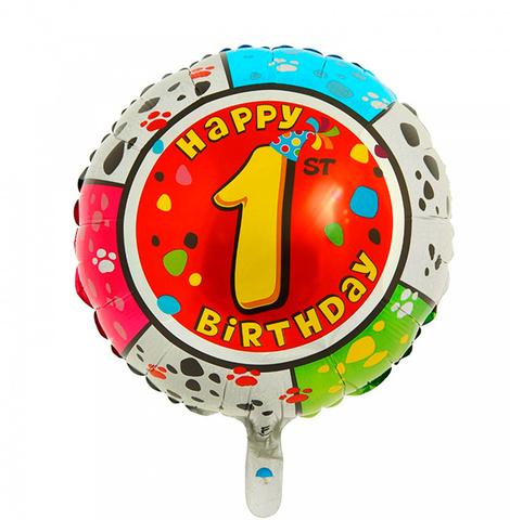 Шар-круг Happy Birthday с цифра 1