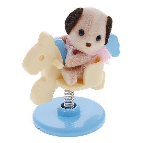 Игрушка младенец в сундучке собачка на качелях-лошадке Sylvanian families 4391A (3340)