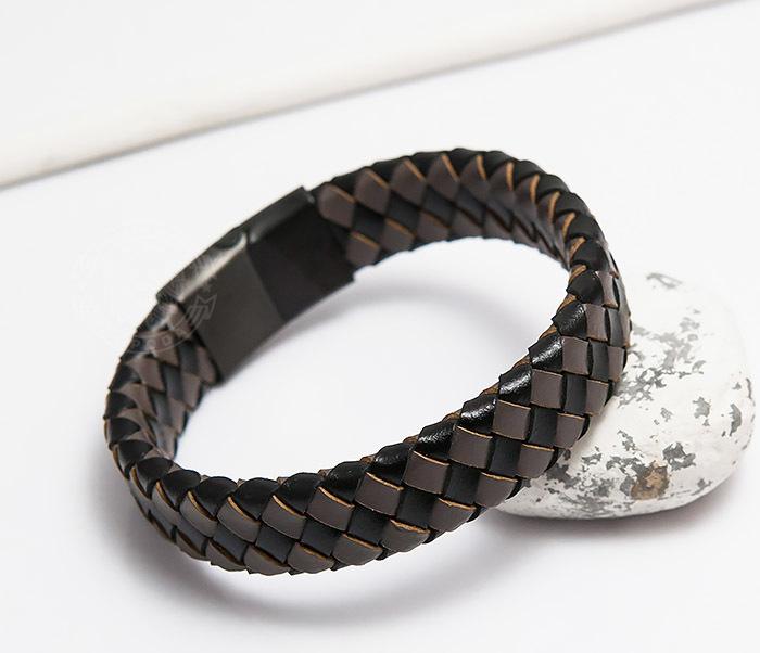 BM450-2 Мужской плетеный браслет из натуральной кожи (20 см) фото 05