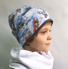 Детская шапочка бини с принтом Ретро - самолеты