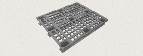 Поддон пластиковый перфорированный 1200x1000x160 мм с полозьями, усиленный металлическим профилем. Цвет: Серый