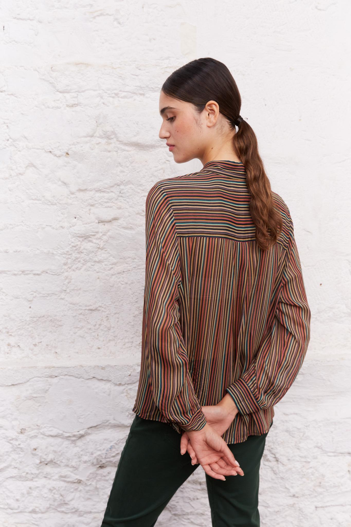 CLARYSA - Вуалевая рубашка в полоску