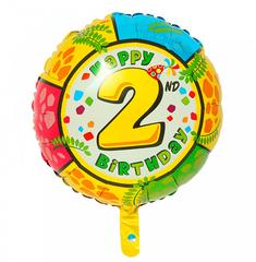 Шар-круг Happy Birthday с цифра 2