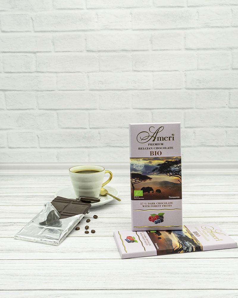 Горький Шоколад Ameri 57 % Какао с Лесными Ягодами БИО 100 гр.