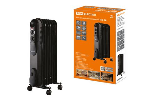 Масляный обогреватель МО-7К, чёрный, 1500 Вт, 7 сек, рег. мощ. (600/900/1500 Вт), термостат, TDM