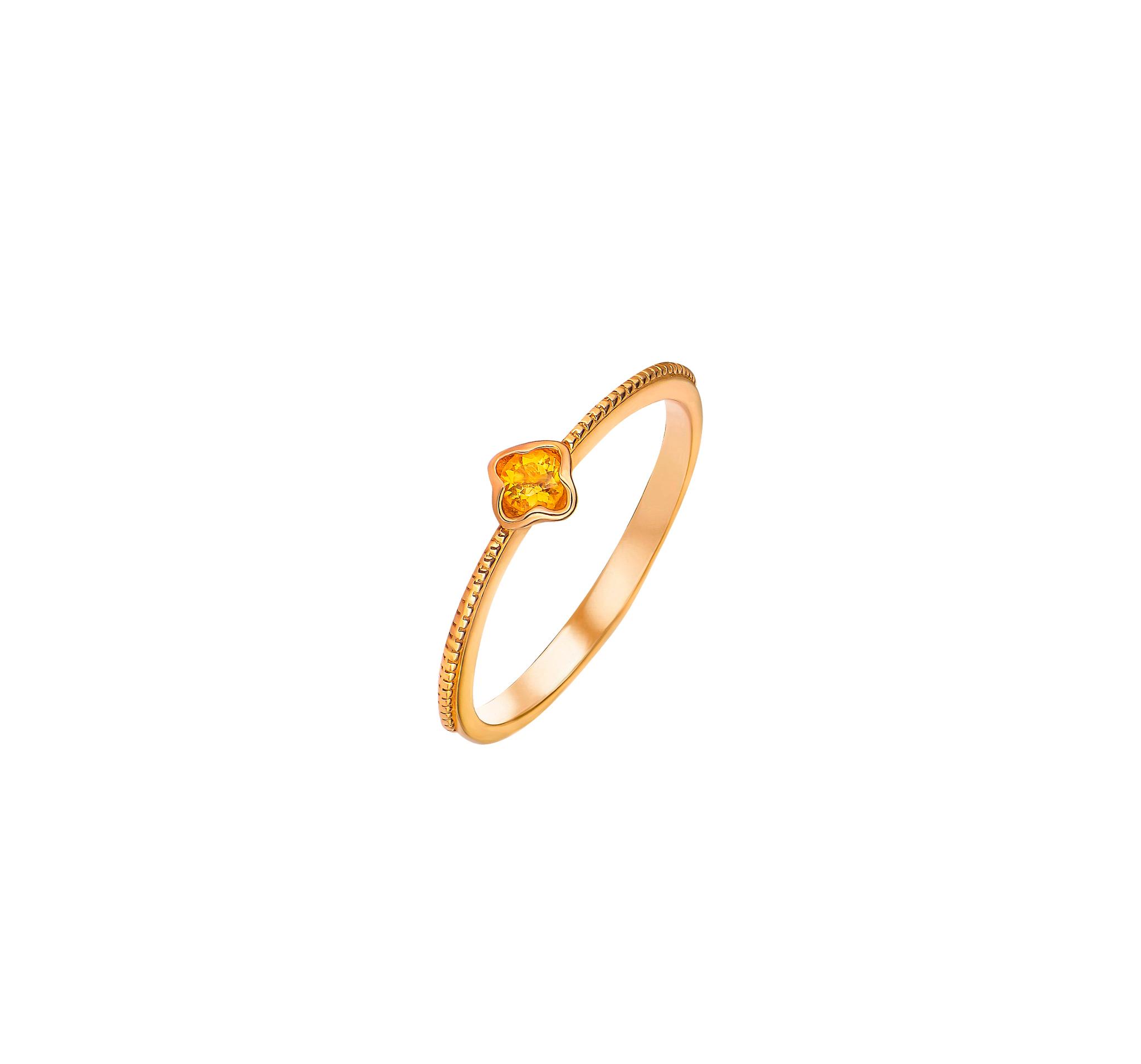 Позолоченное кольцо с цитрином в лепестках от SECRETS