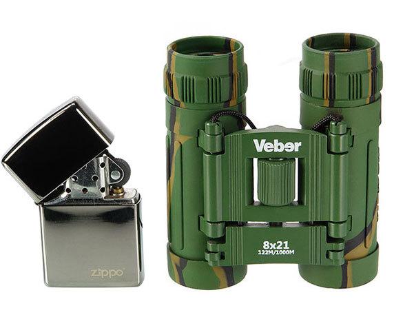 Зажигалка рядом с Veber Sport 8x21 camo