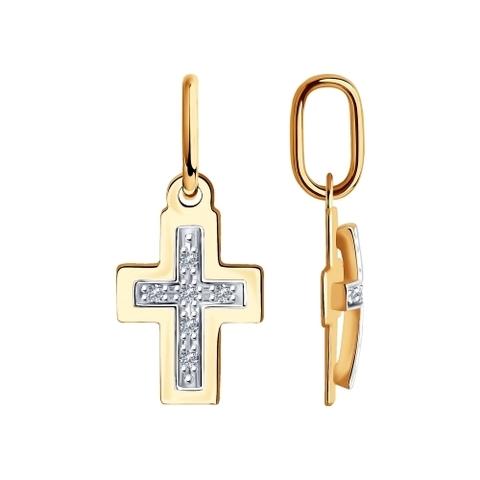 1030770  Маленький крестик из золота с бриллиантами