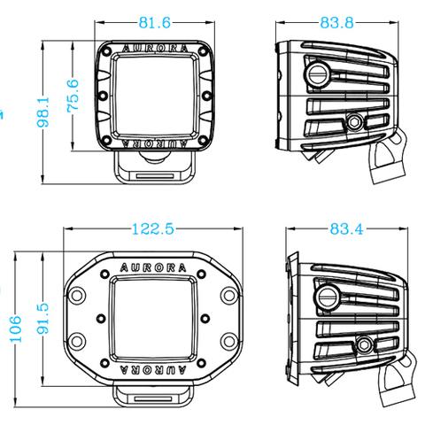 Светодиодная фара  2 дальнего  света Аврора  врезная ALO-E-2-P4T ALO-E-2-P4T  фото-6