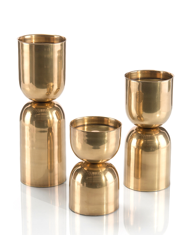 Set of Three Antique Brass Candleholders