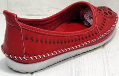 Красные слипоны туфли летние женские Rozen 212 Red.