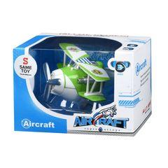 Самолет металический инерционный Same Toy Aircraft зеленый со светом и музыкой SY8012Ut-4