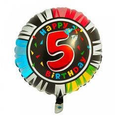 Шар-круг Happy Birthday с цифра 5
